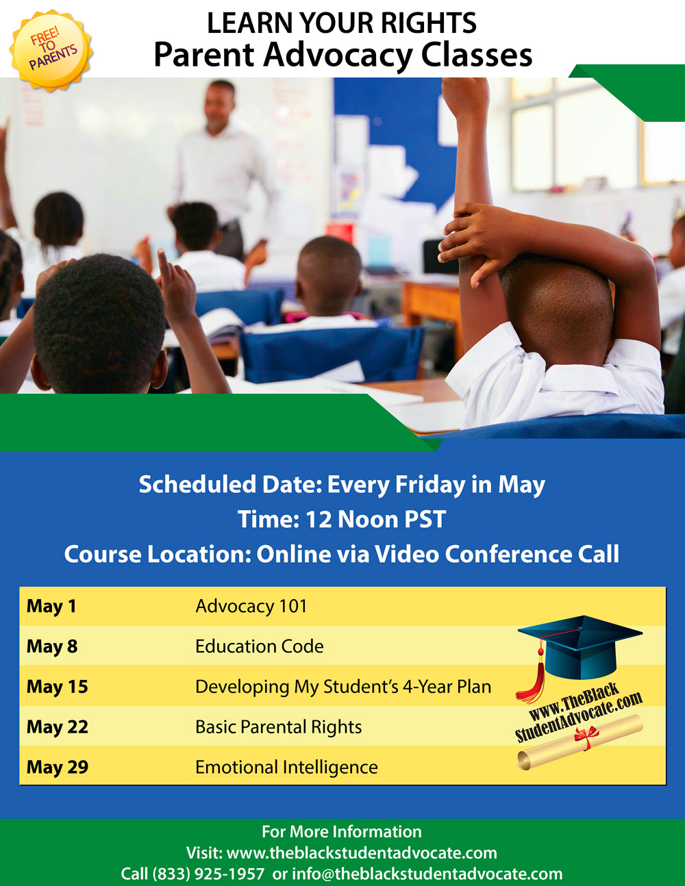 Parent Advocacy Class Schedule - May 2020